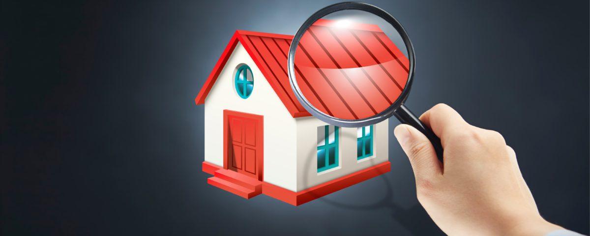 Eine animierte Grafik. Ein Mann zeigt mit einer Lupe auf ein Haus.